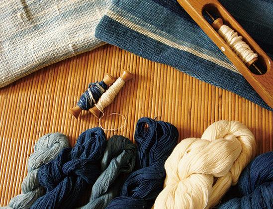 藍染め糸で愛の布♡